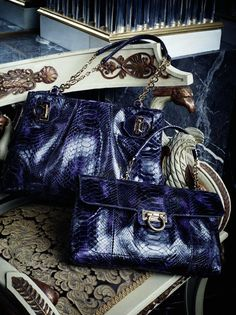Ferragamo Midnight blue exotic skins