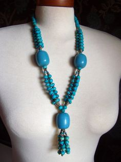 Tribal Necklace, Lucite Necklace, Teal Blue Necklace, Glitter, Bone Necklace, Native American, Blue Necklace, Antique Alchemy on Etsy, $20.72 CAD