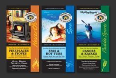 Three trade show banners for the Trading Post (Hearth, Spa and Paddle Sports) by Fish Cat Design. www.fishcatdesign.net