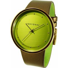 TOKYObay Barbarella Women's ($148) ❤ liked on Polyvore featuring jewelry, watches, fashion accessories, green, oversized watches, slim watches, tokyobay watches, green dial watches and green watches