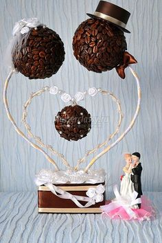 Topiary coffee beans bride and groom centerpiece