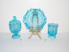 Vintage Aqua Glass Dish Trio by CheekyVintageCloset on Etsy, $82.00