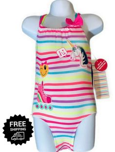 ecace898547e1 (eBay Sponsored) Toddler Girls Bathing Suit One Piece Swimsuit Straps Emoji  Unicorns 3T,
