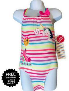 d73bd9a16 (eBay Sponsored) Toddler Girls Bathing Suit One Piece Swimsuit Straps Emoji  Unicorns 3T,