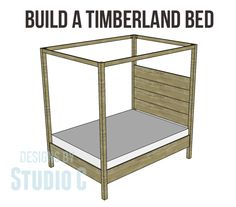 Build a Fabulous Bed with the Timberland Queen Bed Plans! I like the rustic simplicity of this bed - plain in style and construction. The Timberland queen bed plans are constructed with planked Queen Bed Plans, Queen Beds, Queen Bedding, Bedding Sets, Queen Canopy Bed Frame, Diy Bett, Built In Bed, Diy Canopy, Diy Furniture Plans