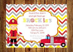 Firetruck Birthday Invitation Digital File by InvitesByChristie, $12.00