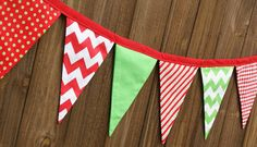 Fabric Christmas Bunting   Triangle Banner by by speckleddog, $30.00