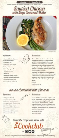 #CookClub recipe No. 12: Sauteed Chicken With Sage Browned Butter