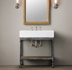 Dutch Industrial Console Powder Room Vanity Also need to order plumbing as seen below since it will be visible