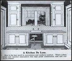 Catalog Homes from Sears & Roebuck Martha Washington - kitchen Art Deco Kitchen, Retro Kitchen Decor, 1930s Kitchen, Kitchen Ideas, Red Kitchen, Vintage Kitchen, 1920s Home Decor, Farmhouse Kitchen Inspiration, Craftsman Kitchen