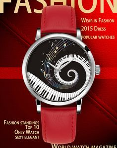 Damenuhr Analog Armbanduhr iCreat Rot echte Leather Schnalle Schönes Zifferblatt mit Musik Note Piano Keys Schwarz Weiß: iCreat: Amazon.de: Sport & Freizeit