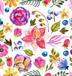 Watercolor natural seamless pattern vector  by Elmiko on VectorStock®
