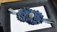 Blue Denim Fabric Flower Headband Girl Headband by MiShaMeDesigns, $11.00