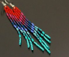 Handmade Native American Style Rainbow Earrings * R E A D Y to S H I P * ♥ ABOUT ~ I used quality JAPANESE Glass Seed Beads *matte red,purple,blue turquoise ~ super light weight (2g each) ~ very comfortable for Everyday Wear * dont mind getting lots of compliments with these earrings :)