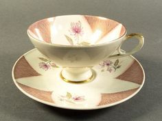 Bavaria Mitterteich cup and saucer, Teacup, teacup and saucers, China, porcelain, pink golden pattern