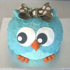 Owl Cake in turquoise