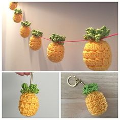 Kitsch Pineapple Keyring and Bunting pattern by Flo and Dot