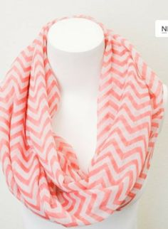 Coral Chevron Infinity Scarf $6.95 Love this website! Cheap Boutique Clothing!