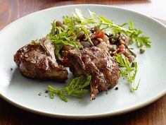 Lamb Chops with Eggplant Caponata Recipe : Michael Symon : Food Network - FoodNetwork.com
