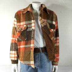 """Vintage CPO Over Shirt Jacket + Fleece Lining Warm Wool Blend, Orange Check Size XL. 44"""" Chest by soultradingvintage on Etsy"""