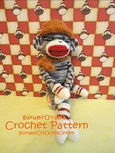 Like to crochet? This sock monkey pattern is just for you!! #patterns #sockmonkey #etsy #etsybot