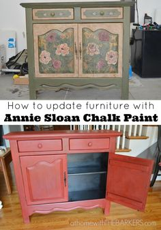 Painted Cabinet Makeover, from out dated to beautiful red!