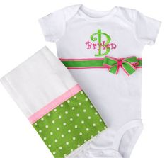 Onesie and Burp cloth gift set made to order by SassyStitchesLA, $13.00