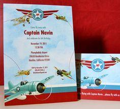 Vintage Planes themed birthday invitation