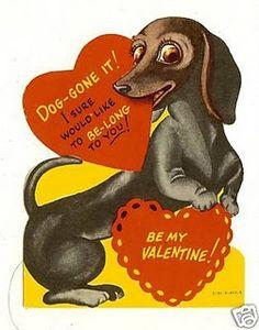 Vintage Dachshund Valentine Card