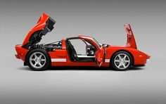 This is a red Ford GT
