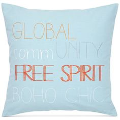 "Under the Canopy Adventurer 18"" Square Free Spirit Decorative Pillow ($40) ❤ liked on Polyvore featuring home, home decor, throw pillows, aqua, aqua accent pillows, aqua home decor, square throw pillows, boho home decor e blue green throw pillows"