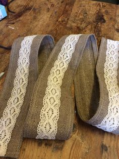 Rescued hessian (burlap) and off cut of lace makes nice gift wrap trim