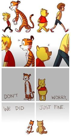 IM JUST GONNA GO CRY NOW!!! (this made me extremely sad,calvin and hobbes,winnie the pooh,christopher robin,all grown up,my childhood is over,i grew up with this)