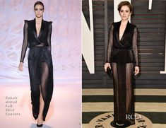 Lily Collins In Zuhair Murad Couture – 2015 Vanity Fair Oscar Party