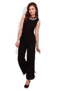 Jennifer Black Jumpsuit With Wide Legs blackJS3459