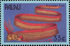 """A stamp issued by the Republic of Palau in 2000; the oarfish is called a """"roosterfish"""" there."""