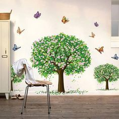 3 Butterfly Blossom Tree Wall Decals  Removable  Sticker Kids Nursery Room Decor