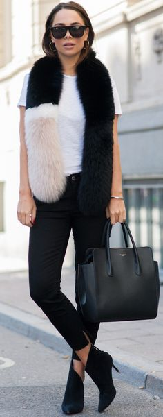 #fall #street #style | Black and White + Pop Of Faux Fur