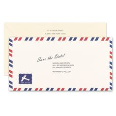 Par Avion These Fun Save The Date Cards Mimic Look Of Old Fashioned Airmail Envelopes Complete With Blue And Red Border Stamp
