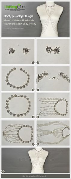 Body Jewelry Design - How to Make a Handmade Flower and Chain Body Jewelry from LC.Pandahall.com   #pandahall