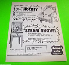 Chicago Coin STEAM SHOVEL 1956 Original NOS Digger Crane Arcade Game Sales Flyer…