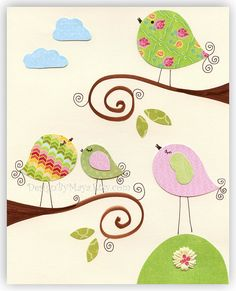 CURSE YOU Pinterest, with your adorable nursery ideas!!!!  What am I doing here??  Why can't I stop looking at this crap??  And my third question... don't you think birdies are just precious as a nursery theme????  I think they will get their own board now.  Now please get me away from this cursed place.