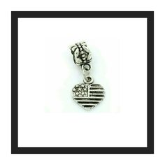 2/10 Usa heart charms, several available This has a 4.5mm core and will fit pandora, troll and all other popular charm snake chains. Silver base plate. Sturdy charm. Price is for two, great for your own project or addition to your bracelet. This can also be added on to any one of my bracelets you purchase if not already included, just request it at purchase. I have several for my own projects :-) Jewelry