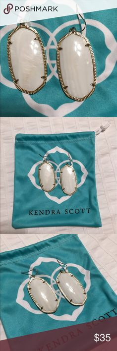 Kendra Scott Danielle Earrings in White White mother of pearl Danielle earrings in gold. Worn maybe 2 times, still perfect. Kendra Scott Jewelry Earrings