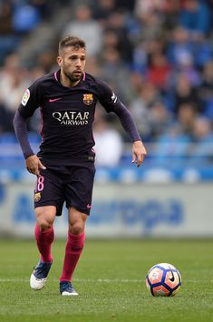 Jordi Alba of FC Barcelona in action during the La Liga match between RC Deportivo La Coruna and FC Barcelona at Riazor Stadium on March 12, 2017 in La Coruna, Spain.