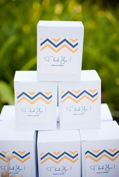 Blue and yellow chevron favor boxes