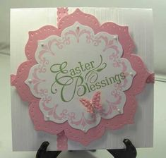 handmade Easter card ... floral framelits die cuts ... stampin with Daydream Medallion in pink and EASTER BLESSINGS in light green ... lovely card! ... Stampin' Up!