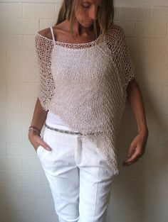 Ivory white summer poncho by ileaiye on Etsy, (Diy Clothes Plus Size) Poncho Au Crochet, Mode Crochet, Knit Crochet, Crochet Pattern, Crochet Clothes, Diy Clothes, White Poncho, Summer Knitting, Creation Couture