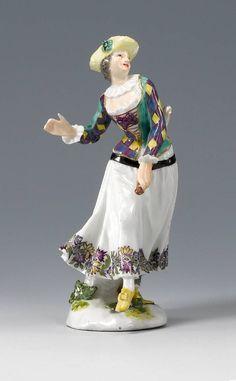 Dancing Harlequine, Meissen porcelain, Duke of Weissenfels series, modelled by P. Reincke, ca 1747 #PorcelainFigurine