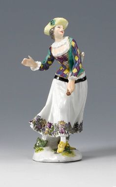 Dancing Harlequine, Meissen porcelain, Duke of Weissenfels series, modelled by P. Reincke, ca 1747